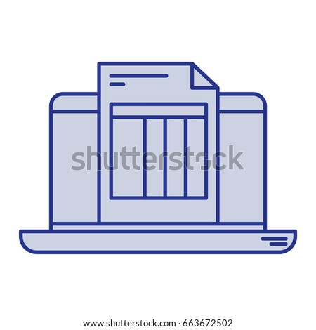 blue silhouette laptop computer billing sheet stock vector royalty