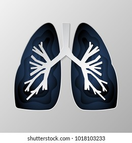 Blue silhouette of the lungs carved on paper. Vector illustration.