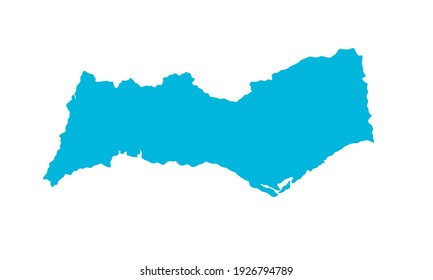 blue silhouette of a map of the Algarve city in southern Portugal on a white background