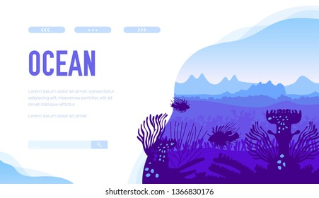 Blue silhouette of marine landscape with habitants: exotic fishes, sargassum, submersed weeds, coral reefs. Undisturbed place of ocean bottom. Vector design for ecology, scuba diving projects.