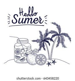 blue silhouette poster of hello summer with landscape of palm trees and bottle with citrus drink vector illustration