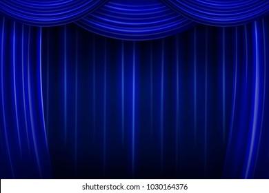 blue silk curtain background. Vector illustration