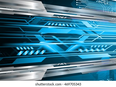 blue silver abstract cyber future technology concept background, illustration, circuit, binary code. move motion speed. sci-fi. Spark. vector
