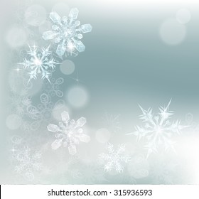 Blue silver abstract snowflakes snow flakes Christmas or New Year festive winter design background.
