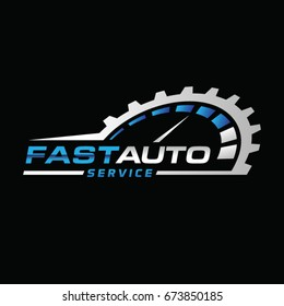 Blue Silver Auto Repair Logo Symbol