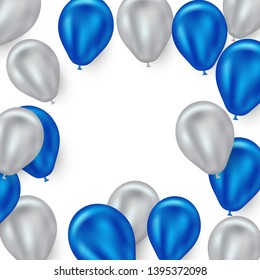 Blue and silver balloon background. Beautifully arranged design for party-celebrations.