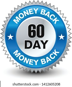Blue and silver color combined powerful 60 day money back guarantee badge/seal.