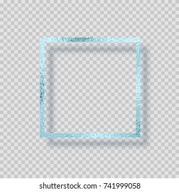 Blue silver frozen foil frame.Turquoise sparkle glossy grunge texture decor isolated on transparent background. Vector shiny metallic foil gradient border pattern for your winter card design