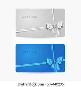 Blue and silver gift cards with bows and ribbons. Vector template for design invitation and credit or discount card. Isolated from a background