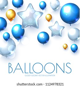 Blue, Silver and Gold Realistic Glossy Balloons Background with Bokeh Effect.