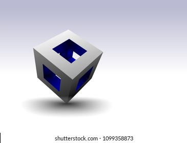 A blue and silver hollow cube balanced on a corner reveals a colorful interior.