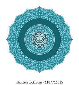 blue and silver mandala logo with blank space for company name and subtitle