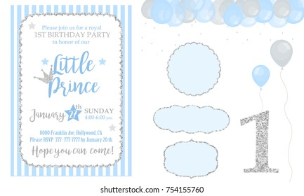 Blue and silver prince party decor. Cute happy birthday card template elements. Birthday party and boy baby shower design elements set. Glitter texture.  Gloss effect. Banner with balloons
