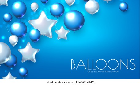 Blue and Silver Realistic Glossy Balloons Background with Bokeh Effect. Vector illustration