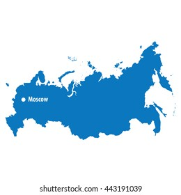 Blue similar russia Vector Map with capital city moscow. flat template for your design.