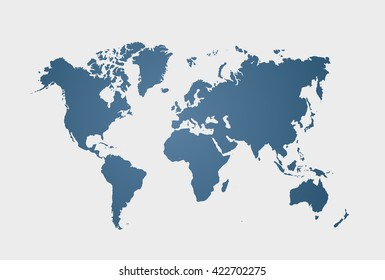 Blue similar world map blank. World clean flat map. Vector illustration. EPS 10