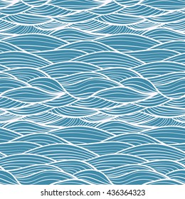 blue simple wavy seamless pattern, with white lines and curves