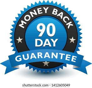 Blue simple yet reliable, medal, Label, Icon, Seal, Sign 90 day money back guarantee badge with ribbon Isolated on White Background.