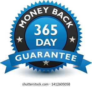 Blue simple yet reliable, medal, Label, Icon, Seal, Sign 365 day money back guarantee badge with ribbon Isolated on White Background.