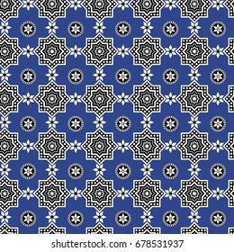 Blue Sindhi Ajrak Pattern, Vector Illustration