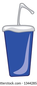 A blue sipper with a straw vector color drawing or illustration