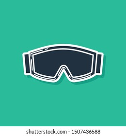 Blue Ski goggles icon isolated on green background. Extreme sport. Sport equipment.  Vector Illustration
