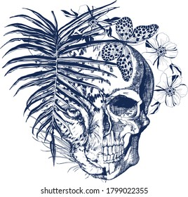 Blue skull and leopard face, palm leaf, butterfly and flowers in vintage style illustration