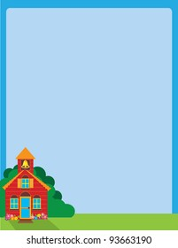 A blue sky background, with a colorful school house set in the lower left corner, on a patch of green grass and foliage.