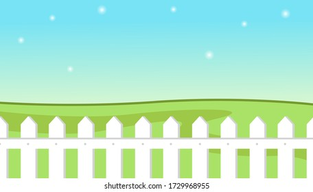 Blue sky background with decorative picket white fence and grass. Garden fencing, summer backyard. Summer landscape with traditional white picket fence with green meadow against a bright clear sky