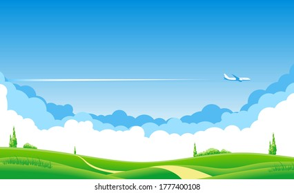 Blue sky with clouds and an airplane flying over the green fields. Airliner over grazing meadow and trees. Illustration, vector