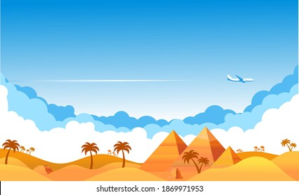 Blue sky with clouds and an airplane flying over yellow sandy desert. Airliner over an oasis in desert with palm trees and pyramids. Illustration, vector