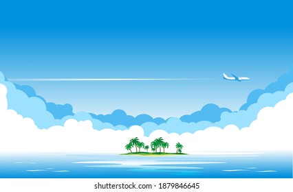 Blue sky with clouds and an airplane flying over the blue sea or ocean. Airliner over  island with palm trees. Vector