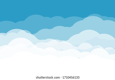 Blue Sky with Clouds. Cartoon Background. Bright Illustration for Design.