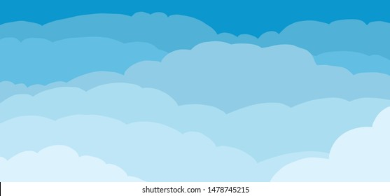 Blue sky and Clouds cloud Background. Vector icon icons sign signs fun funny cartoon cartoons strips drawn drawing stroke air heaven cloudscape panorama line pattern seamless colored abstract Borders