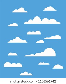 Blue sky, clouds in flat style. Vector design element for logo, web and print. Cloud icon, cloud shape. Many different clouds. Collection cloud icon, shape, label, symbol. Vector graphic element.