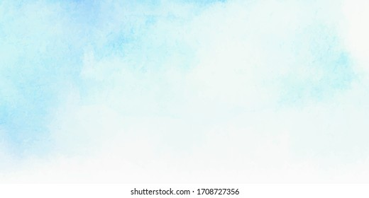 Blue sky and clouds, hand painted abstract watercolor background, vector illustration