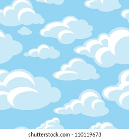 blue sky with clouds, seamless pattern