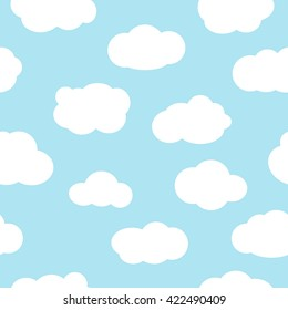 Blue sky with clouds, seamless pattern vector. White clouds seamless pattern design and baby art clouds seamless pattern. Baby shower clouds seamless pattern and baby shower texture design.