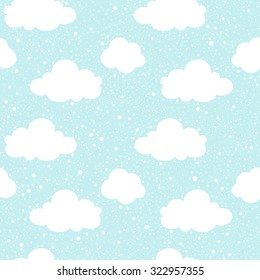 Blue sky with clouds silhouettes and snowfall splash texture. Vector seamless pattern. Winter background. Falling snow hand drawn spray texture.