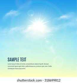 Blue sky with clouds and sun with rays. Vector background