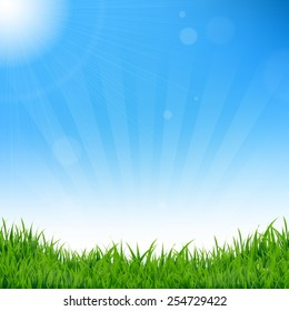 Blue Sky And Grass Background With Gradient Mesh, Vector Illustration
