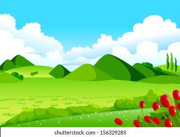 Blue Sky, Green Fields and Distant Hills. This illustration is a common natural landscape. Rolling landscape, Blue Sky, Green Fields and Distant Hills for Your Creative Needs.