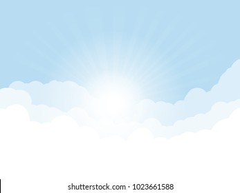 Blue sky, and high clouds. Rising sun with rays above clouds. Religion or heaven concept. White clouds and light blue sky color.