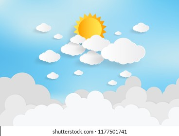 Blue sky and sun with clouds background. Paper art style. Vector illustration