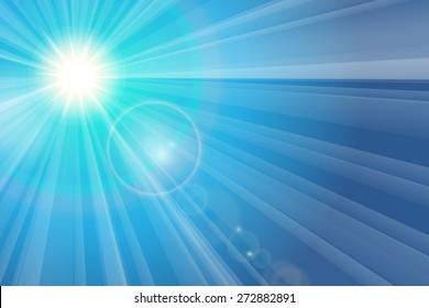 Blue sky and sun. The rays of the sun