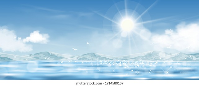 Blue sky with Sun rays shining on the sea,Horizon natural of Blue ocean, mountain and fluffy cloud with bright light in morning, 3D Vector Landscape banner for Spring and summer seasonal holiday