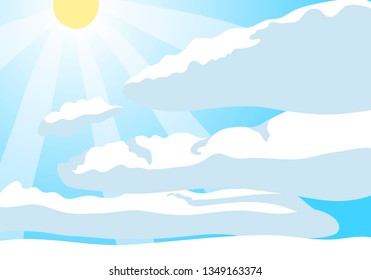 Blue sky with sun and white clouds. Cartoon vector background design