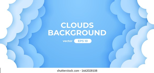 Blue sky with white clouds background. Border of clouds. Paper cut. Simple cartoon design. Banner, poster, flyer template. Flat style vector eps10 illustration.