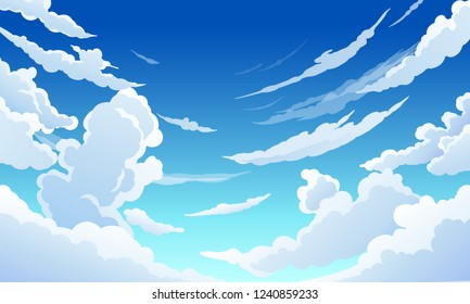 Blue sky with white clouds clear sunny day, landscape, background with clouds, vector illustration