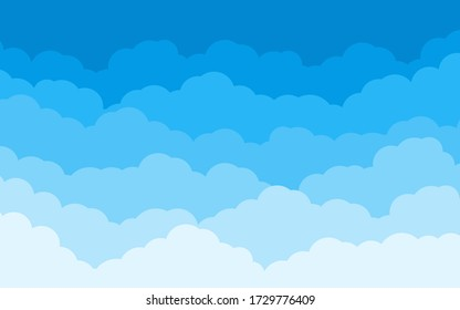 Blue sky with white clouds landscape background. Border of cloud flat cartoon style. Cloudy heaven scene layered effect. Design panorama for banner, poster, flyer, card, web design Vector illustration